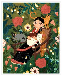 Ratlion's Den: Lady with Cats / Cat Lady by Radha Ramachandran Pichwai Paintings, Indian Art Paintings, Abstract Paintings, Indian Illustration, Car Illustration, Indian Traditional Paintings, Peacock Wall Art, Indian Folk Art, Madhubani Painting