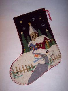 Christmas Handmade Stocking Felt Applique Church Night