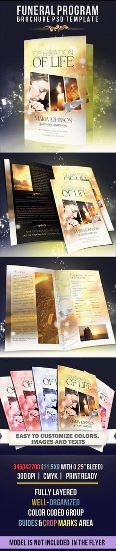 Buy Celebration of life - Funeral Program Brochure Template by Webm on GraphicRiver. Funeral program brochure template can be use as memorial program for your client PSD is set up in dimensio. Design Brochure, Bi Fold Brochure, Brochure Template, Free Brochure, Funeral Program Template Free, Funeral Cards, Funeral Planning, Funeral Ideas, Party Organization