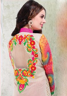 Multicoloured Long chanderi designer Suits \http://alicolors.com/index.php?route=product/category&path=59_70