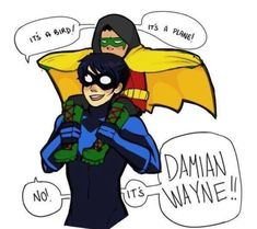 Dick Grayson and Damian Wayne awww cute ❤ Nightwing, Batgirl, Batwoman, Superman, I Am Batman, Batman Robin, Gotham Batman, Batman Art, Batman Stuff