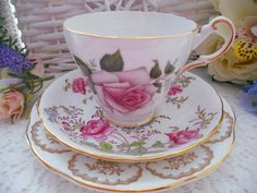 Beautiful handpainted pink roses and gold: lovely mismatched vintage bone china tea set, perfect for a special occasion