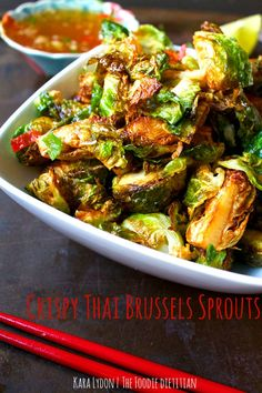 Crispy Thai Brussels Sprouts Crispy Brussels sprouts tossed in an authentic Thai chili fish sauce for a side dish you won't forget! - Crispy Brussels sprouts tossed in an authentic Thai chili fish sauce for a side dish you won't forget! Sprout Recipes, Vegetable Recipes, Vegetarian Recipes, Cooking Recipes, Healthy Recipes, Healthy Thai Recipes, Healthy Breakfasts, Thai Side Dishes, Vegetable Dishes