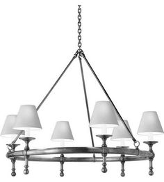 $1,049.90 Dinning Lighting New York | Visual Comfort Studio Sandy Chapman Classic Ring Chandelier in Antique Nickel with Natural Paper Shades SL5812AN-NP