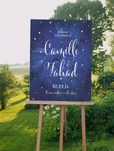 Watercolor Wedding Welcome Sign with starry sky for outdoor wedding reception sign - The Zoe Set