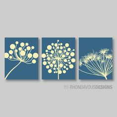 Abstract Modern Dandelions Print Trio - Yellow and Blue Dandelion. Nursery. Home Decor. Wall Art. Room. Living - You Pick the Size (NS-340)