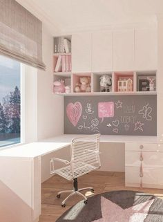 Kinderzimmer-Madchen-Rose-Kindertapete-Sterntapete-Schrank-Room-For-Kids Nursery girl Rose Children's wallpaper Star wallpaper Cabinet Room-For-Kids Baby Room Design, Girl Bedroom Designs, Girls Bedroom, Girl Rooms, Tiny Bedroom Design, Room Girls, Kid Bedrooms, Nursery Design, Study Room Decor