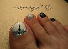 The Best Nail Art Designs – Your Beautiful Nails Pedicure Nail Art, Pedicure Designs, Toe Nail Designs, Toe Nail Art, Nail Manicure, Feet Nails, My Nails, Dragonfly Nail Art, Feet Nail Design