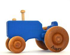 Holz Spielzeug Traktor - personalisierte Holzspielzeug - Push Spielzeug - Kleinkind Spielzeug Blau