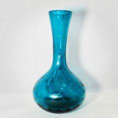 Mid Century Pairpoint Glass Vase #vintage #gotvintage #etsyshop #etsysuccess #midcentury #pairpoint #pairpointglassworks #capecod #duckwells #etsy #teal #artglassvase