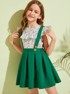 Girls Ruffle Ditsy Floral Top & Pleated Pinafore Skirt Set – Kidenhouse Frocks For Girls, Dresses Kids Girl, Cute Dresses, Kids Outfits, Girls Fashion Clothes, Fashion Dresses, Pinafore Skirts, Kids Dress Wear, Baby Girl Dress Patterns