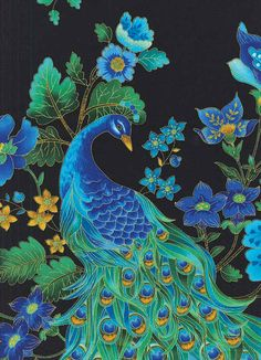 Peacock Plume Large Black Timeless Treasures fabric 1 yard