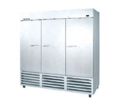 ERAGE AIR Reach In Freezer, three-section, 72.0 cu.ft., (9) adjustable shelves, lockable hinged door, enhanced digital control, stainless steel front, gray coated steel sides, white interior with stainless steel floor, bottom-mounted self-contained refrigeration