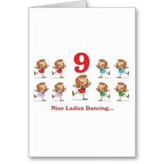 12 days nine ladies dancing greeting cards