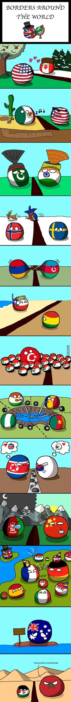"""Borders Around the World"" by Fedcom  #polandball #countryball #flagball:"