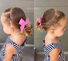 2 side mini braids and 1 center hairline French braid pulled into a low left messy bun! Sweet bow from - today is the LAST DAY to get off your order with discount code Toddler Hair Dos, Easy Toddler Hairstyles, Princess Hairstyles, Flower Girl Hairstyles, Little Girl Hairstyles, Kid Hairstyles, Hairdos, Toddler Girl, Haircut Styles For Women