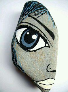 Augusta Rocks painted rocks idea DIY face draw eyes