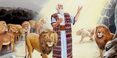 The prophet Daniel is the target of a jealous plot that lands him in a den of hungry lions. King Darius was tricked. Can Daniel's God perform a miracle? Biblical Costumes, Daniel And The Lions, Arte Judaica, Lion's Den, Comic Panels, Jehovah's Witnesses, Character Costumes, Bible Stories, My Books