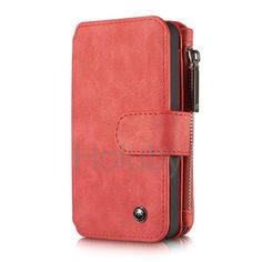 CaseMe 14 Card Slots Detachable 2-in-1 Split Genuine Leather Case for iPhone SE 5 5S Red