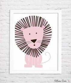 Pink Lion Nursery Art Print by MonkieBirdie on Etsy, $24.95