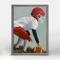 """""""Lil' Football Star 2"""" Mini Framed Canvas. Art by Kristina Bass Bailey from Oopsy Daisy, Fine Art for Kids. Size – 5˝x7˝. Rustic frame color is predetermined. Browse our entire collection of Mini Framed Canvas art for kids!"""