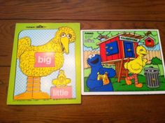 Vintage-Playskool-Wooden-Puzzle-Sesame-Street-Big-Bird-Cookie-Monster-Oscar