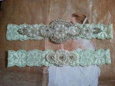 SALE - Wedding Garter Set -Pearl & Rhinestone Garter Set on a Light Mint Colored Lace - Style G10001