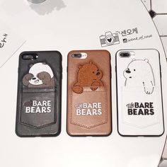 Fashion Embroidery Bear Leather Phone Case Back Cover For Iphone Plus Cute Cases, Cute Phone Cases, Iphone Cases, Friends Phone Case, Bear Card, Accessoires Iphone, Otter Box, Leather Phone Case, We Bare Bears