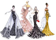 Hayden Williams Fashion Illustrations | Red Carpet Glamour by Hayden Williams