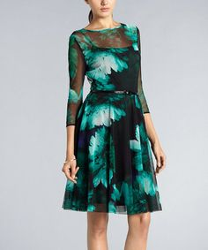 Love this for a dinner party    Take a look at this Teal Floral Girlie Mesh Belted Dress by Muse on #zulily today!