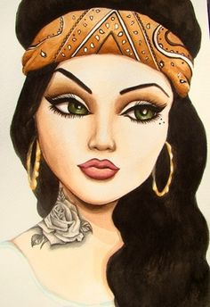 Chola makeup is all about the eyes and lips. Learn how to do chola makeup with the mentioned chola makeup tutorial. Arte Cholo, Cholo Art, Chicano Art, Chica Chola, Estilo Chola, Dope Kunst, Dibujos Pin Up, Arte Latina, Chola Girl