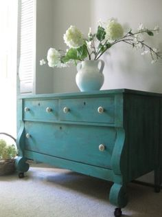 ~ TURQUOISE with gray interior room design designs house design home design Turquoise Dresser, Turquoise Furniture, Aqua Dresser, Turquoise Room, Colorful Furniture, Gray Painted Walls, Painted Chest, Hand Painted, Gray Walls