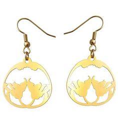 Round Fleur Nouveau Gold Earrings