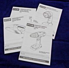 4 Ryobi Operator Manuals: Worklight Drill-Driver Vacuum Saw P710 P510 P201 P700 #ryobi