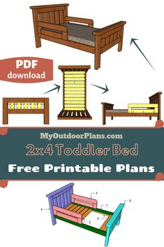 This step by step diy article is about toddler bed plans. I continue my series of bed frame projects with this super simple design about building a toddler bed. If you like the rustic design, this will be a super easy bed frame to make and very durable. Bed Frame Plans, Diy Bed Frame, Bed Plans, Toddler Bed Frame, Farmhouse Style Bedding, Bed Next, Wood Putty, Built In Bed, Kreg Jig