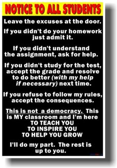 Notice to Students Big Text New School Classroom Student Motivational Poster | eBay