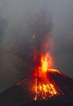 Vulcanian Eruption From Anak Krakatau At Night Volcano Lava And - Incredible neon blue lava flames erupt volcano