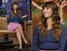Jessica Biel In Roland Mouret - The Tonight Show with Jay Leno...although I don't think those heavy bangs are working very well for her.