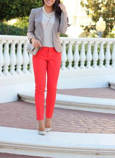 Red Pants and Neutrals (plus Banana Republic new arrivals). Red Sloan Fit Slim Ankle Pant - puff sleeve sweater - pearl necklace - leather purse - polka dot pumps // http://www.stylishpetite.com/2013/10/red-pants-and-neutrals-plus-banana.html