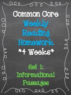 Common Core Weekly Reading Homework. Informational Text Passages! Perfect for close reading strategies!