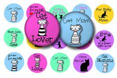Show off your love of cats with this fun and colorful digital collage sheet of cute cats in 1 inch circles. This digital download sheet of bottle cap images is perfect for making any of the following:  * Bottle cap crafts * Print your own planner stickers * Magnets * Key chains * Pendants * Cup cake toppers *Badge Reels
