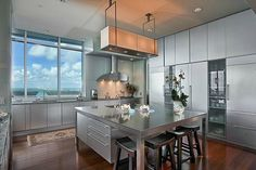 Kitchen with a view! Beautiful kitchen at one of Miami's most prestigious buildings : The Grovenor House - Coconut Grove