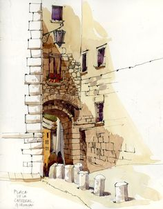 Urban Sketchers: After Barcelona: Girona and the Costa Brava Urban sketches are so cool, I wanna know how to do these. Watercolor Architecture, Architecture Drawings, Urban Architecture, Sketch Painting, Watercolor Sketch, Painting Art, Watercolor Trees, Watercolor Portraits, Watercolor Landscape