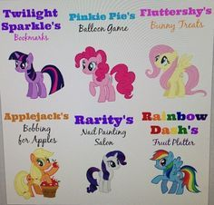 PLAY- applejack apple bobbing Pin the tail on Pinkie Pie Raritys nail painting Twilight sparkles pass the parcel