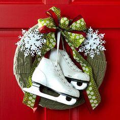 Haustür weihnachtlich dekorieren Schlitten Papier