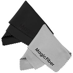 "(2 Pack) MagicFiber Microfiber Cleaning Cloths - For All LCD Screens Tablets Lenses and Other Delicate Surfaces (1 Black and 1 Grey 6x7"")"