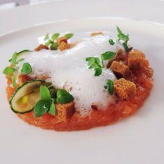Salmon tartar / lemon foam / cucumber    @ Dune Restaurant Cafe Lounge in Mielno