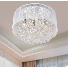 The Lighting Store Flushmount 4-light Chrome and White Crystal Chandelier   Overstock.com Shopping - The Best Deals on Chandeliers & Pendants