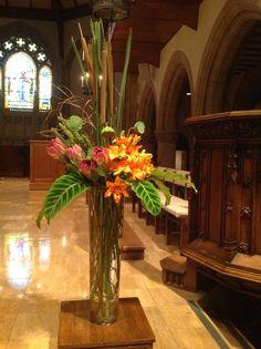 Pulpit flowers 7/19/14 Altar Flowers, Church Flower Arrangements, Church Flowers, Floral Arrangements, Church Events, Lenten, All Saints, Cuban, Flower Decorations