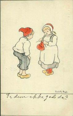 Kunstnerkort Gratulasjonskort Lisbeth Bergh. Strikkende jente. J.F. 2/5. Stemplet 1908